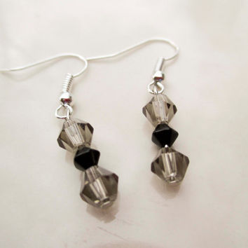 Smokey Grey Black Crystal Beaded Earrings with Silver Fishhook Posts