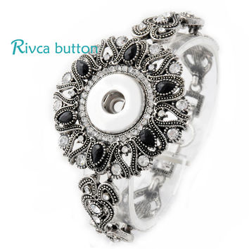 P00711 Neweset Snap Button Bracelet&Bangles Newest Design Chain Antique Silver Plated Vintage Bracelet FIt Snap Button Jewelry