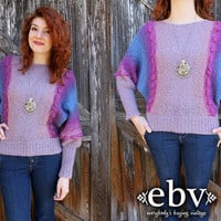Vintage 70's Purple Wool Ombre Knit Sweater Jumper S M by shopEBV