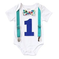 Teal Blue Red Baby Boy First Birthday Outfit - Birthday Shirt - Cute First Birthday Outfits for Boys - Bow Tie and Suspenders - I'm One -1st