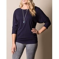 Bamboo Dolman Top - Navy XL Only