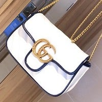 GUCCI GG's Marmont explosion new product white bag shoulder bag