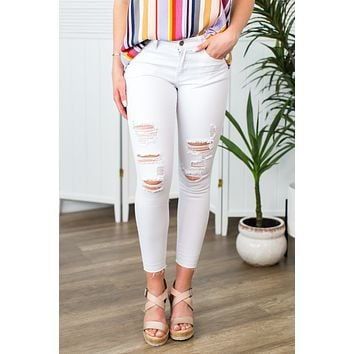 Kan Can Raw Hem Skinnies- White