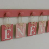 Baby Girl Nursery Wood Pink Name Signs Set includes Hanging Ribbon Letters for GENEVIEVE and 9 Wooden Hooks