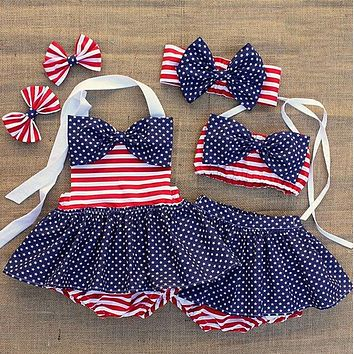 Striped American Flag Swimsuit Bathing Suit Bikini With Headband Independence Day July 4th