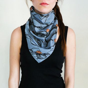 Hand Painted Bandana, Thin Scarf In Blue-Gray