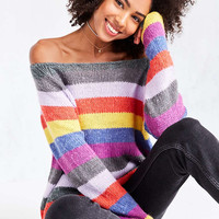 Cooperative Rainbow Stripe Off-The-Shoulder Sweater - Urban Outfitters