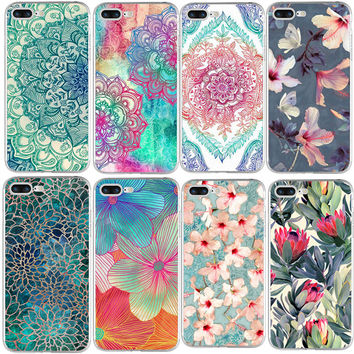Flowers silicone TPU Cover For iPhone 5 5S SE 5C 6 6S 7 Plus Case For Samsung Galaxy S3 S4 S5 S6 S7 Edge J3 J5 A3 A5 2016 Coque