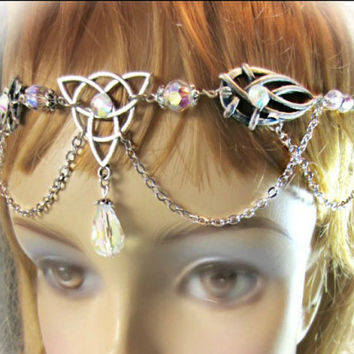 Triquetra Celtic Circlet, Silver Headdress, Handfasting Headdress, Ren Faire, Choose Color