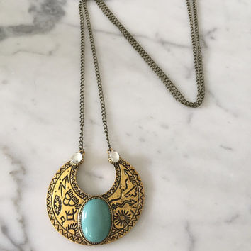 Greek Turquoise and Brass Long Necklace