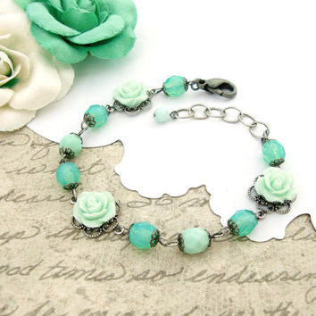 Mint Green Bracelet - Mint Resin Rose Bracelet - Czech Beads - Antique Silver Filigree - Antique Victorian Style Bracelet - Mint Jewelry