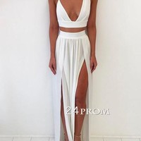 Simple white two pieces long prom dress, white evening dress - 24prom