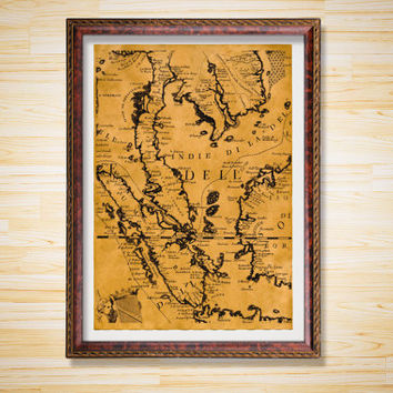 Old World Map print Antique decor Geography poster