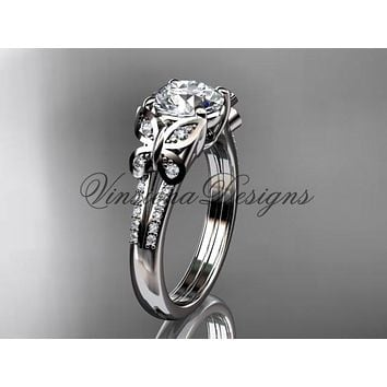 Platinum diamond engagement ring, butterfly ring, wedding ring ADLR514