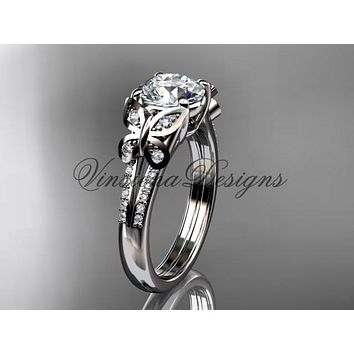 14k white gold diamond engagement ring, butterfly ring, wedding ring ADLR514