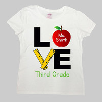 Teacher Shirt 3rd Grade T Shirt Back To School TShirt Third Grade Shirt Custom Name Personalized Gifts Teacher Love Mens Ladies - SA976