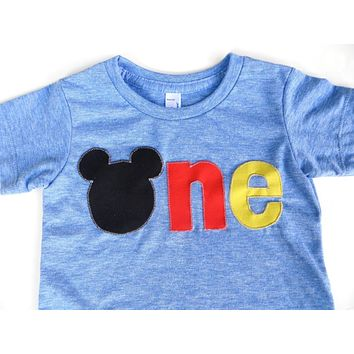 Mouse ears red yellow black one Birthday Shirt for boys 1st Birthday outfit party favors invitions 1 year old decorations bunting cake smash Mickey