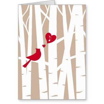Valentine's Day Love Song, Cardinal In Birch Tree Greeting Card