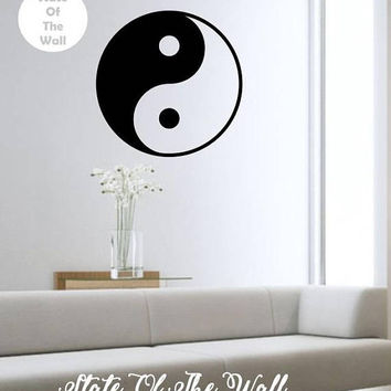 Yin Yang Wall Decal YOGA NAMASTE Vinyl Sticker Art Decor Bedroom Design Mural interior design  peace love meditation fitness
