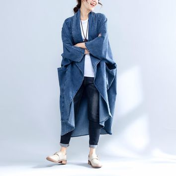 Yesno JS3 Women Loose Open Front Denim Trench Coat Cardigan 100% Cotton Casual Wide Lapel Outerwear High Low Hem Batwing Sleeve
