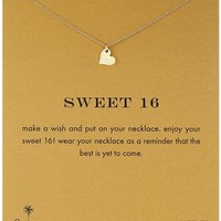 """Dogeared """"Reminders"""" Sweet 16 Gold Sparkle Heart Pendant Necklace, 18"""""""