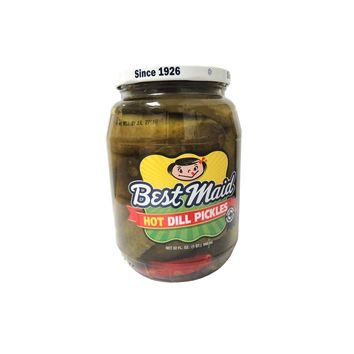 BEST MAID HOT DILL PICKLES-GLASS (32OZ)