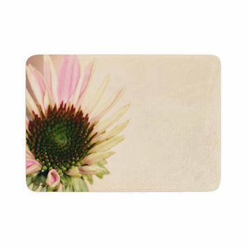 "Sylvia Coomes ""Pink And Yellow Flower"" Blush Floral Memory Foam Bath Mat"