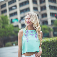 Tribal Embroidered Tank Top in Mint