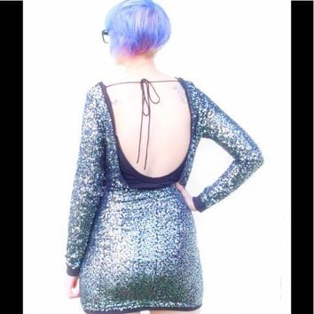 Free People Impressions Sequin Open Navy Dress
