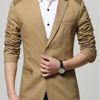 Color Block Lapel Long Sleeve Blazer