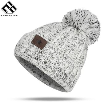 Evrfelan Winter Warm Hats Women Knitted Hat  Brand Casual Thick Female Cap Fur Ball Winter Hat Knitted Beanie Hat Drop Shipping