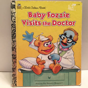 "Little Golden Book, Vintage Children's Book ""Baby Fozzie Visits the Doctor""  Collectible! Jim Henson, Sesame Street"