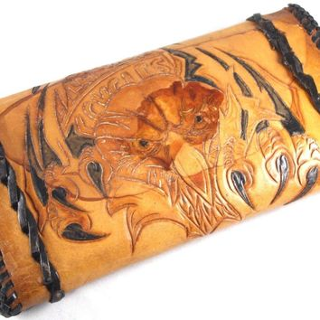 Hand Tooled Vintage Women Brown Leather Western Harley Davidson Trifold Wallet