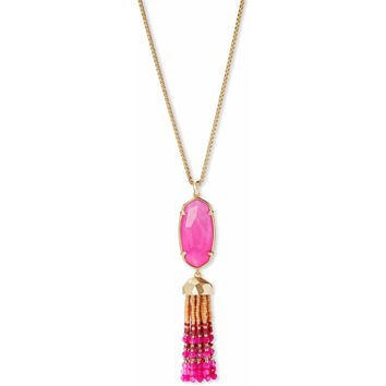 Kendra Scott: Eva Gold Long Pendant Necklace In Pink Agate