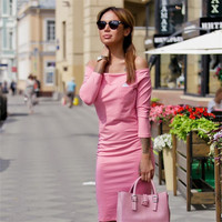 Off Shoulder Solid Bodycon Long Sleeve Mid-Calf Dress