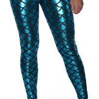 Shiny Teal Mermaid Leggings