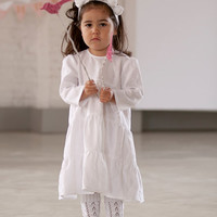 Baptism dress Baby girl Brigh white Linen Dress Flower girls dress First birthdays dress Baby girl clothes Headband with linen flowers