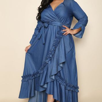 Chambray Blue On-trend Plus Size Maxi Dress