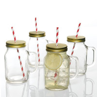 Gibson Home Boogaloo 4 Pack 19oz Mason Jar w-Lid and Straw