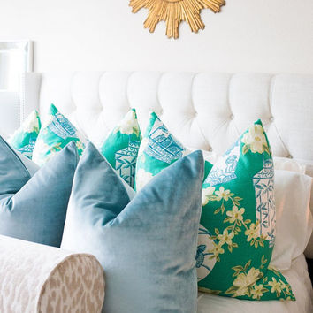 Faux Silk Velvet // Cerulean Blue Pillow COVER ONLY