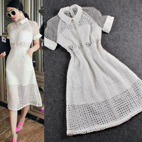 White  Sheer Meshed Lapel Collar Waist Swing  Dress