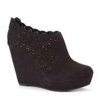 Black Cut Out Wedge Shoe Boots