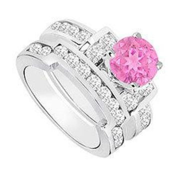 Pink Sapphire & Diamond Engagement Ring with Wedding Band Sets 14K White Gold  1.20 CT TGW