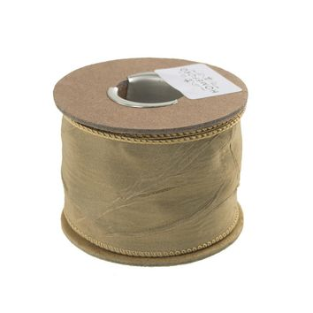 Crinkled Satin Silk Wired Edge Ribbon, 2-Inch, 9 Yards, Champagne
