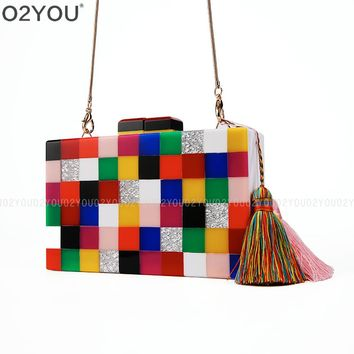 Acrylic colorful evening clutch bag elegant Handmade bag party wedding bridal purse Acrylic Box Clutch Bag Ladies Shoulder Bag