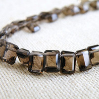 Quartz Briolette AAA Smoky Quartz Gemstone Chocolate Brown Fancy Faceted Rectangle Step Cut Drop Briolette Top Drilled 7mm 1/2 Strand
