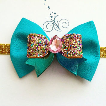 Girls Dark Turquoise and Gold Leather Sparkly Bow Headband / Baby Jeweled Headband / Green Glitter Headband / Spring Bow Hair Accessory