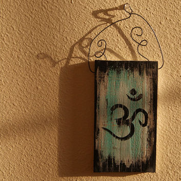 Om Wall Art - Reclaimed Wood - Blue