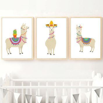 Cartoon Llama Cactus Wall Art Canvas Posters And Prints Canvas Painting Wall Pictures For Kids Bedroom Nordic Decoration Home