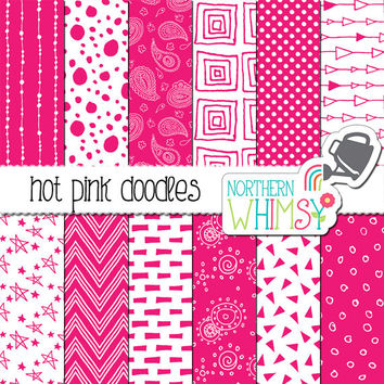 Hot Pink Digital Paper – seamless doodle scrapbook paper with polka dot, chevron, & geometric patterns - printable paper - commercial use